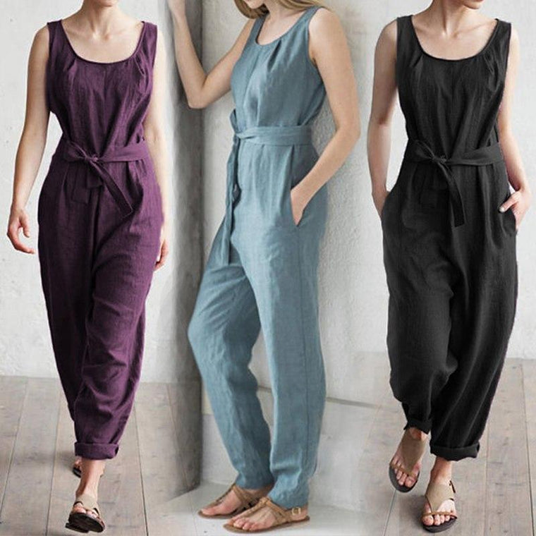 e694318996b2 Sleeveless vest high waist cotton casual jumpsuit trousers