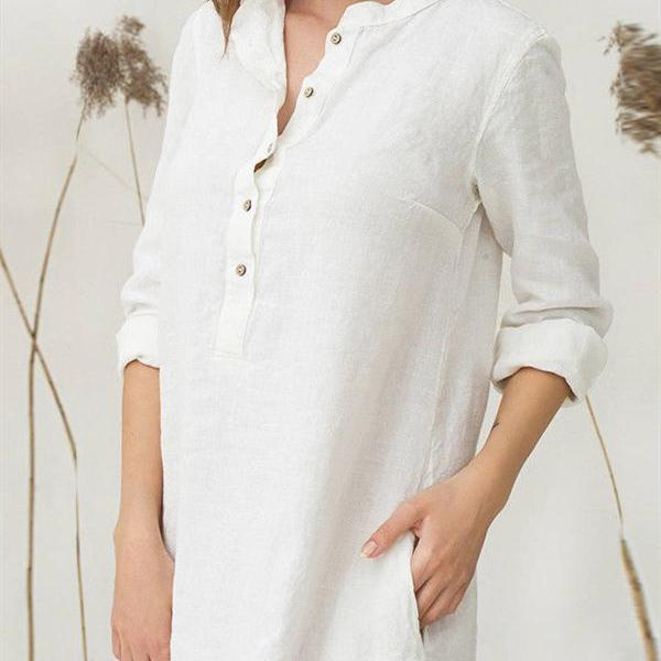 Long Sleeve Single Breasted Pockets Cotton Linen Shirt Dresses