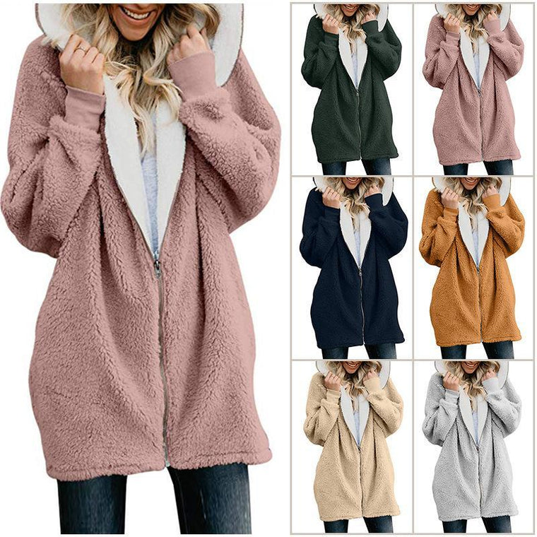 Zipper Cashmere Solid Sweet Long Sleeve Hoodie Teddy Bear Coat
