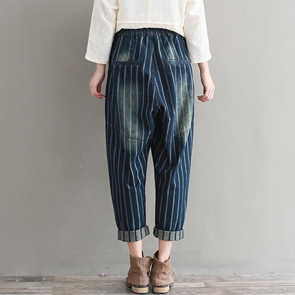 Fashion  Blue Denim Drawstring Elastic Waist Striped Harem Jeans