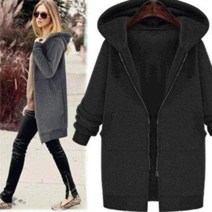 Plus Size Solid Hoodie Casual Coat