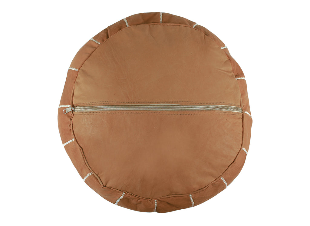 Classic Tan Leather Pouf