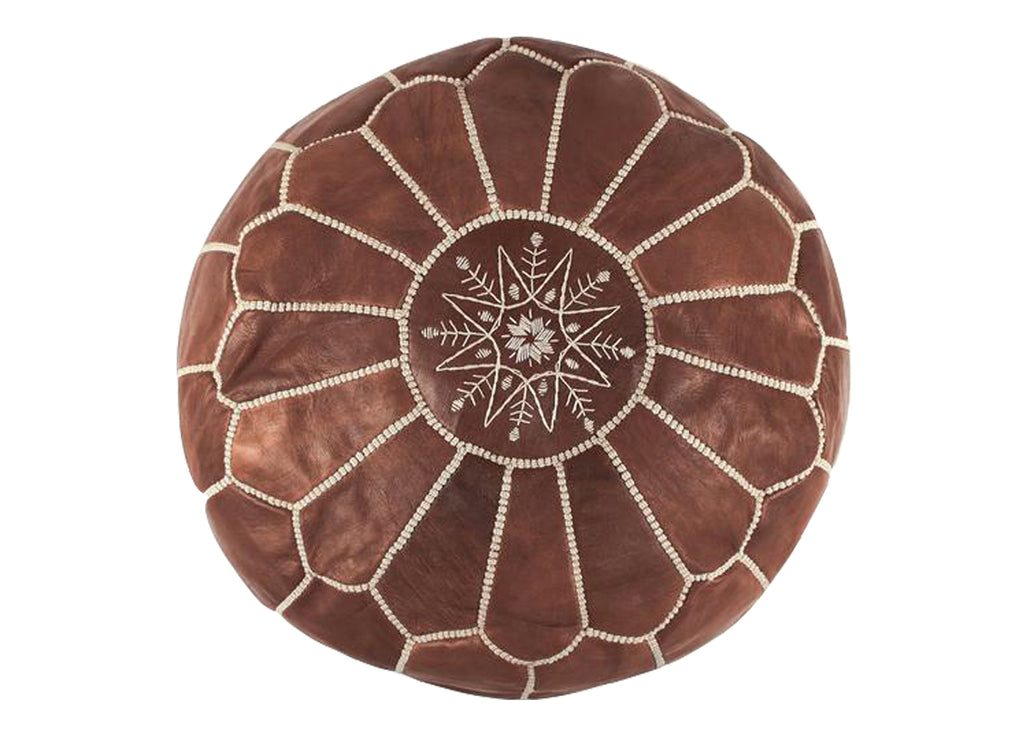 Mocha Leather Pouf