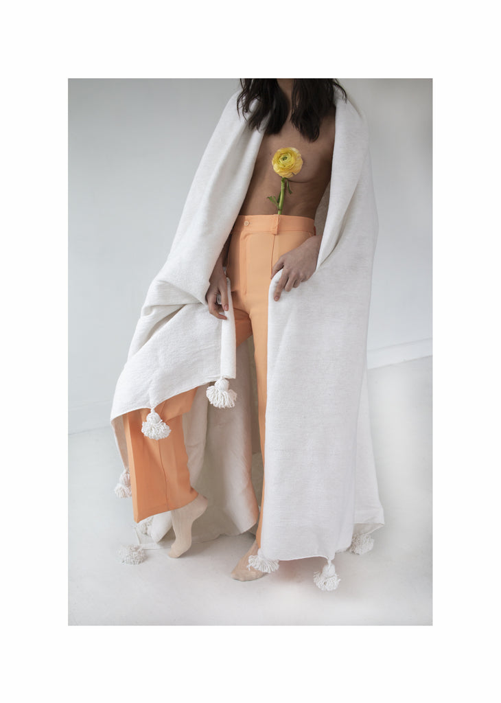White Cotton Moroccan Blanket