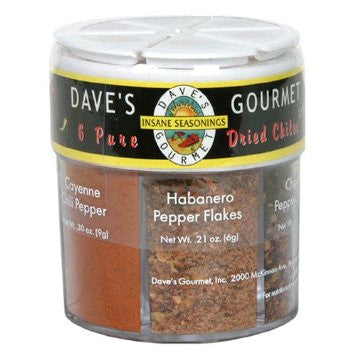 Dave's Gourmet 6 Pure Dried Chiles