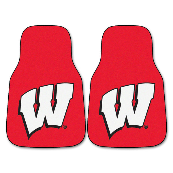 "Wisconsin 2-Piece Printed Carpet Car Mats (18""x27"")"