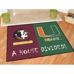 "Florida State Seminoles / Miami Hurricanes House Divided NCAA ""All-Star"" Floor Mat (34""x45"")"