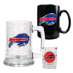 Buffalo Bills NFL 15oz Tankard, 15oz Ceramic Mug & 2oz Shot Glass Set - Primary Logo