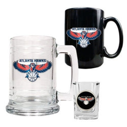 Atlanta Hawks NBA 15oz Tankard, 15oz Ceramic Mug & 2oz Shot Glass Set - Primary Logo