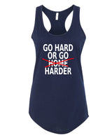 Go Hard or Go Harder - Racerback - Women - Navy