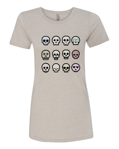 Skulls Out - T-Shirt - Women - Light Cream
