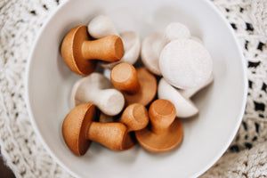 Wooden Mushrooms- Set of 10