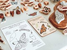 Load image into Gallery viewer, Butterfly Life Cycle Wooden Anatomy Tile + Colouring in Card