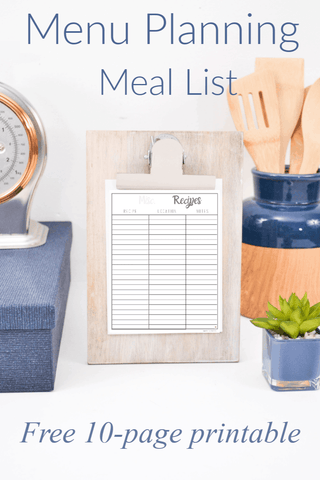 List of Meals for Dinner Template