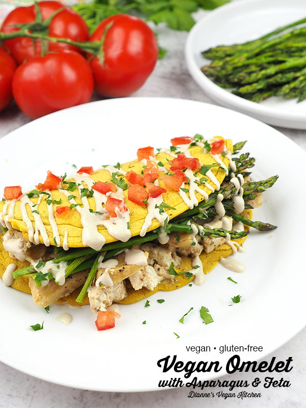 Full of asparagus and tofu feta, this Vegan Omelet is a terrific dish to serve at a spring brunch