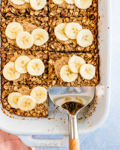 This banana baked oatmeal is the ideal healthy breakfast! It's full of good-for-you ingredients and so delicious, everyone will want seconds.