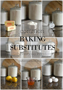 Anyone that has been in the middle of baking a batch of cookies only to find out that they are out of  baking powder knows how important baking substitutes can be.  Here are a list of substitutes for the most common baking ingredients.