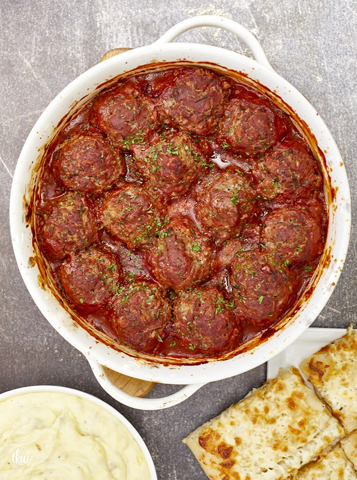 Soft & tender well-seasoned meatballs baked in a rich tomato sauce make this the perfect classic comfort food for family dinners