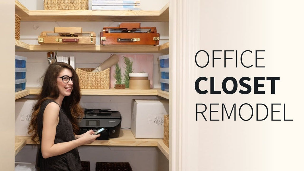 We tackled a closet renovation for our office closet! Complete with printer storage, chunky wood shelves, and lots of organization