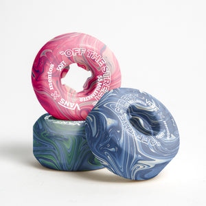 French design students Hugo Maupetit and Vivian Fischer have developed a method for collecting discarded chewing gum and turning it into colourful, recycled plastic skateboard wheels.