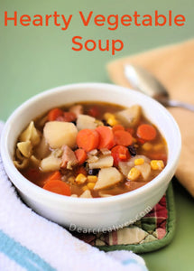 I have several favorite soups we make for dinner and today's is this Hearty Vegetable Soup recipe