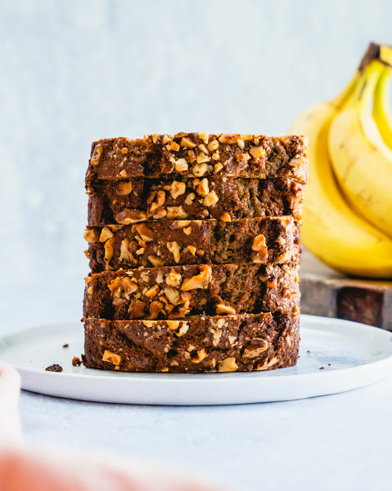 This easy classic banana nut bread is everything a banana bread should be: moist, warm spiced, and studded with crunchy toasted walnuts.