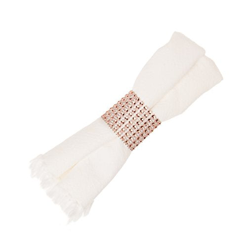 Ella Celebration Napkin Rings Set of 100 Rose Gold Rhinestone Bulk Accessories for Weddings, Receptions, Dinners, Holidays, Parties, Family Events, Baby Showers, Gatherings, Table and Home Decor