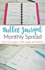 Make your bullet journal monthly spread easy to create each month with this free printable