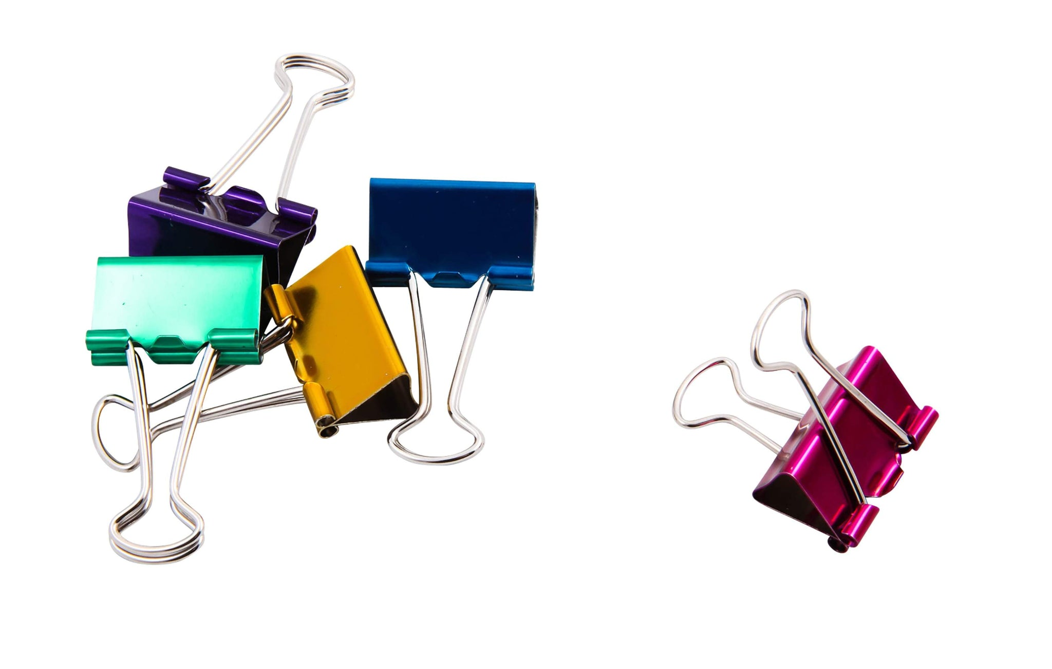 Baumgartens Metallic Designer Binder Clips Medium 5 Pack ASSORTED Colors (29730)