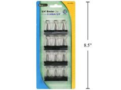 "DESK TECH, 12PC. 3/4"" BINDER CLIP, BLACK COL., B/C"
