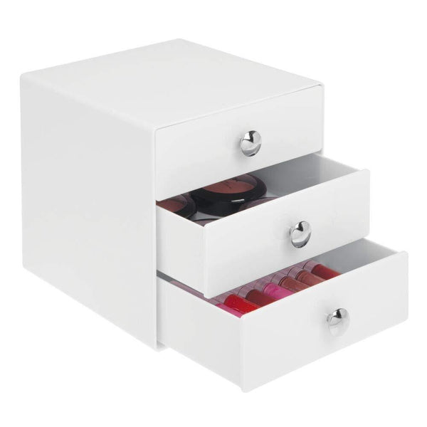 Online shopping idesign plastic 3 jewelry box compact storage organization drawers set for cosmetics makeup hair care bathroom office dorm desk countertop 6 5 x 6 5 x 6 5 set of 4 white