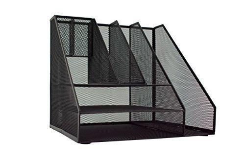 Shop for blu monaco black wire mesh desk organizer vertical file organizer letter tray inbox organizer all in one office desktop organizer black metal mesh