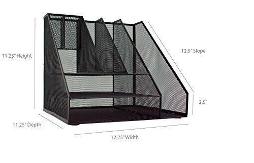 Selection blu monaco black wire mesh desk organizer vertical file organizer letter tray inbox organizer all in one office desktop organizer black metal mesh