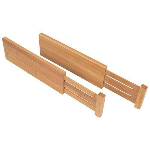 Discover bamboo kitchen drawer dividers organizers set of 6 spring loaded adjustable drawer separators for home and office organization