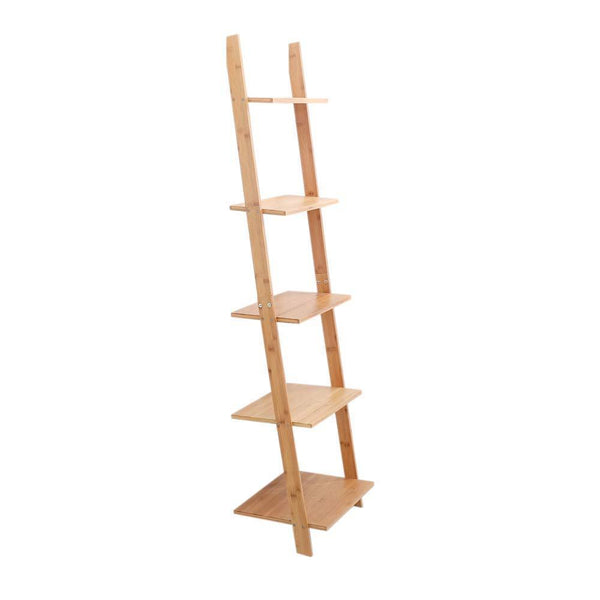 Save on exilot natural bamboo ladder shelf 5 tier wall leaning bookshelf ladder bookcase storage display shelves for living room kitchen office multi functional plant flower stand shelf
