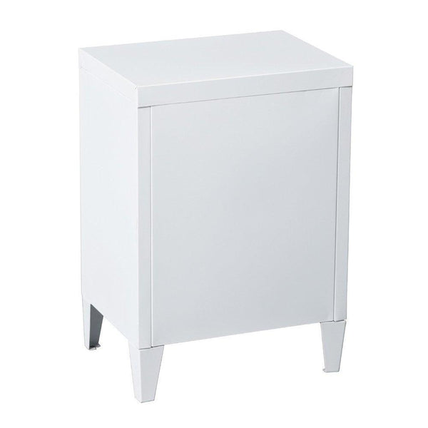Heavy duty houseinbox metal locker organizer side end table office file storage 2 shelves detachable 4 legs size 15 9 x 12 x 22 6 white