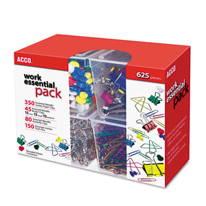ACCO 350 Paper Clips, 150 Push Pins, 80 Butterfly Clips and 45 Binder Clips, Assorted