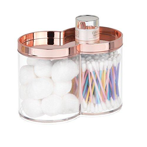 mDesign Divided Bathroom Vanity Countertop Canister Jar with Recessed Storage Lid - Stackable - Double Compartment Organizer for Q tips, Cotton Balls, Beauty Blenders, Bath Salts - Clear/Rose Gold