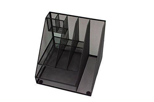 Shop blu monaco black wire mesh desk organizer vertical file organizer letter tray inbox organizer all in one office desktop organizer black metal mesh