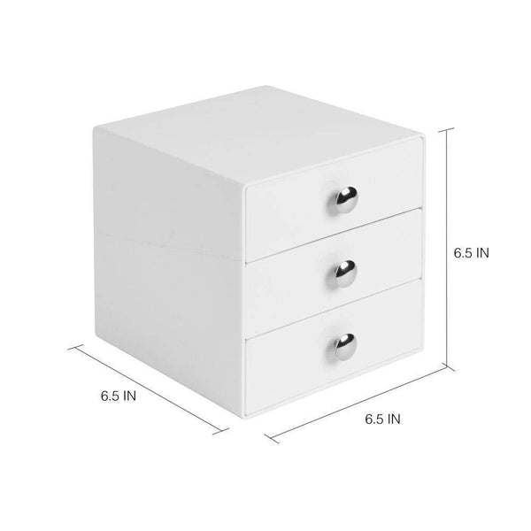 New idesign plastic 3 jewelry box compact storage organization drawers set for cosmetics makeup hair care bathroom office dorm desk countertop 6 5 x 6 5 x 6 5 set of 4 white