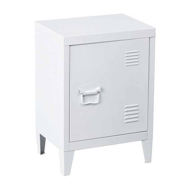 Kitchen houseinbox metal locker organizer side end table office file storage 2 shelves detachable 4 legs size 15 9 x 12 x 22 6 white