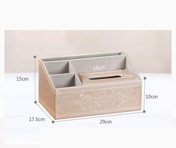 The best ladder multifunctional tissue box cover pu leather pen pencil remote control holder office desk organizer white soft sheep