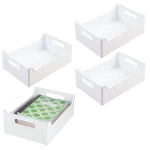 "mDesign Stackable Plastic Home Office Storage Bin Container, Desk and Drawer Organizer Tote with Handles for Storing Gel Pens, Erasers, Tape, Pencils, Highlighters, Markers - 10"" Wide - 4 Pack - White"