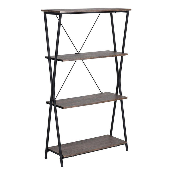 Try aingoo 4 shelf bookcase vintage industrial bookshelf mdf with metal frame shelving unit home office shelf organizer multipurpose storage shelf display rack brown