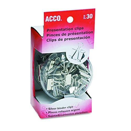 ACCO Binder Clips, Assorted Sizes, 30 Clips / Tub, Silver (A7071138)