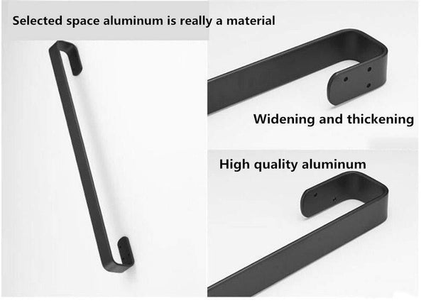 Exclusive xj dd 3m self adhesive towel bar solid thick black towel rail space aluminum rust towel rack for bedroom kitchen office punch free punching dual use g 60cm24inch