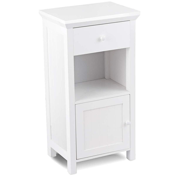 Discover tangkula bathroom floor storage cabinet wooden storage cabinet for home office living room bathroom one drawer cupboard organize freestanding cabinet white