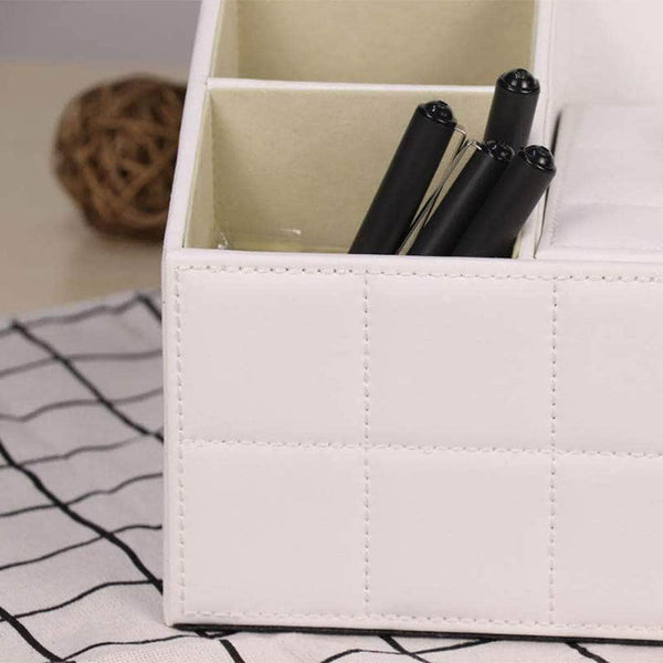 Top rated ladder multifunctional tissue box cover pu leather pen pencil remote control holder office desk organizer white soft sheep