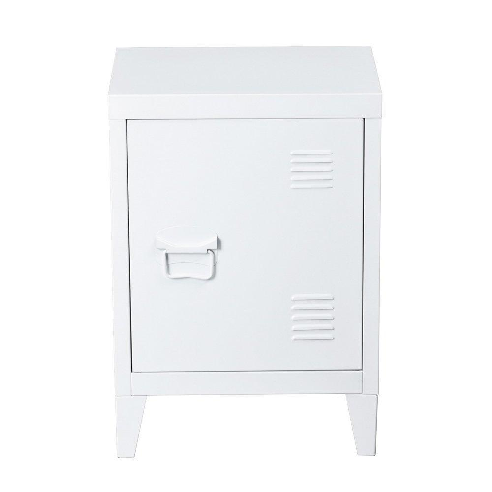 Great houseinbox metal locker organizer side end table office file storage 2 shelves detachable 4 legs size 15 9 x 12 x 22 6 white
