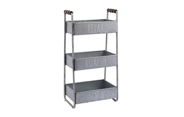 Best rae dunn 3 tier desk organizer galvanized steel caddy with wood accents tabletop or floor standing design chic and stylish metal storage bin for office home or kitchen